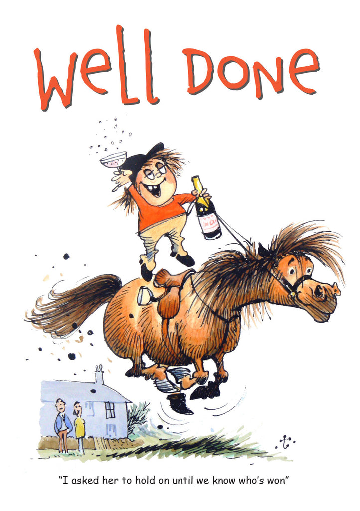 Horse or Pony Greeting Card. Well Done by Norman Thelwell. Congratulations.