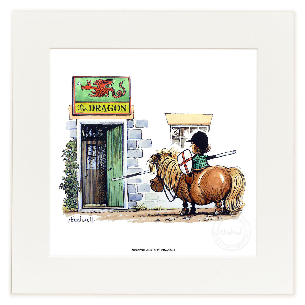 Horse and pony cartoon print. George and the Dragon, by Norman Thelwell