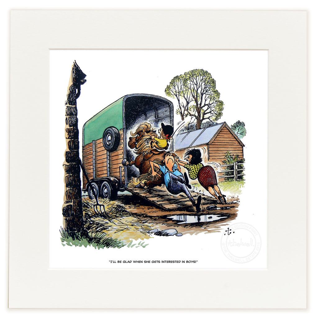 Horse and pony cartoon print. I'll be glad when she gets interested in boys, by Norman Thelwell
