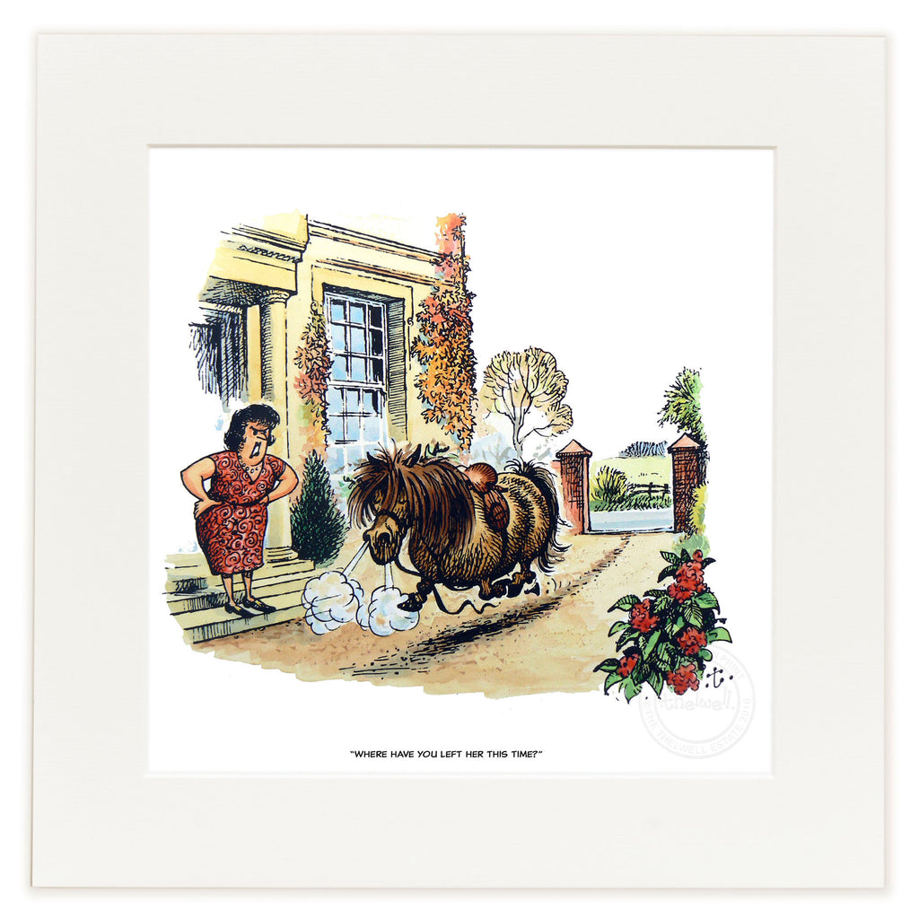 Horse and pony cartoon print. Where have you left her this time, by Norman Thelwell