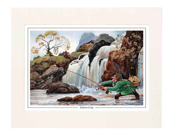 Salmon Leap by Norman Thelwell. Collector's print. Copied from original pai...
