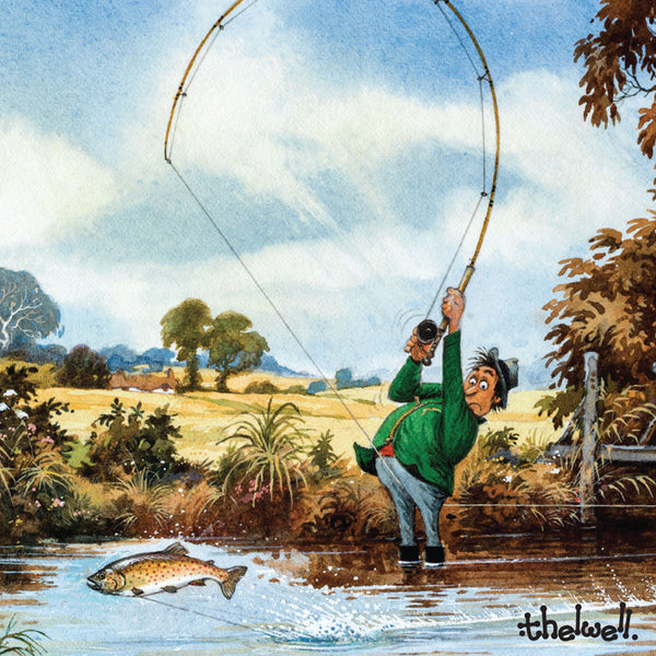 "Thelwell fly fishing greeting card with sound. ""The Compleat Tangler"""