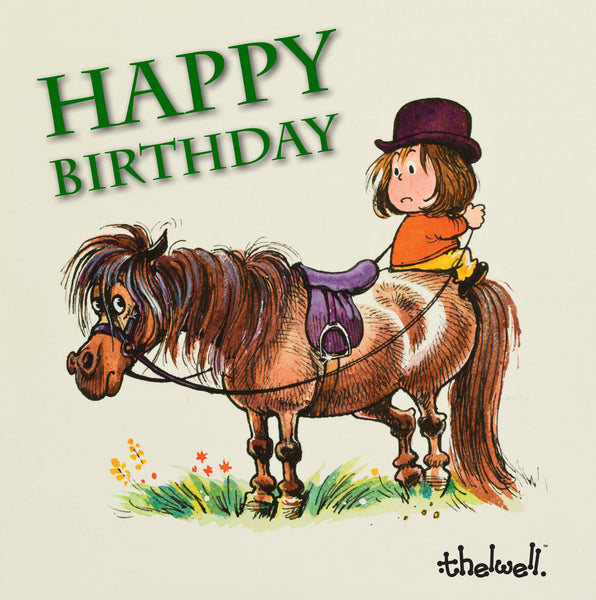 "Horse or Pony Greeting Card with Sound ""Sitting Position"" Happy Birthday by Norman Thelwell"