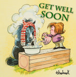 "Horse or Pony Greeting Card with Sound ""Coughs"" Get Well Soon by Norman Thelwell"