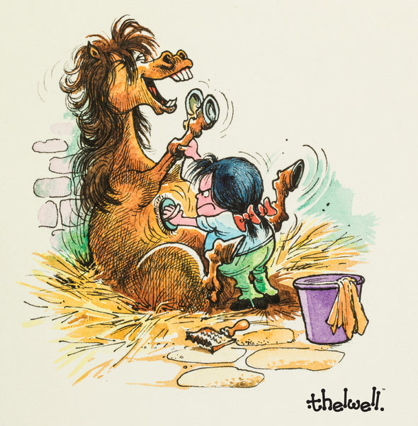 """Brushing"" Thelwell greeting card with sound inside."