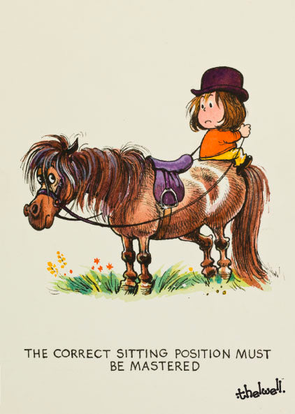 "Horse or Pony Greeting Card ""Sitting Position"" by Norman Thelwell"