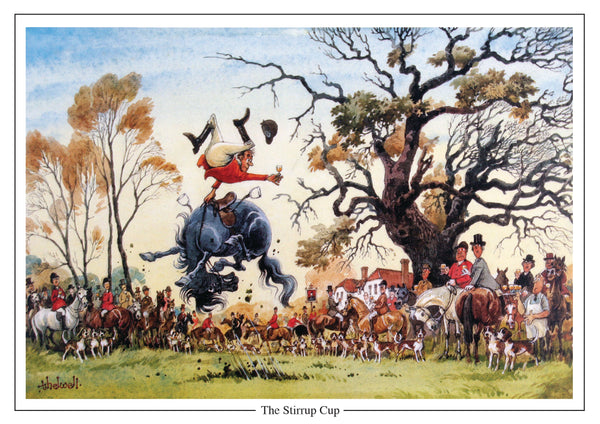 The Stirrup Cup fox hunting cartoon Greeting Card by Thelwell