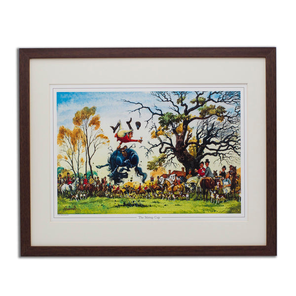 Cartoon horse and hunting print. The Stirrup Cup by Norman Thelwell.