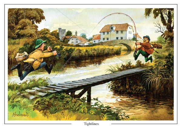 Tightlines fishing cartoon Greeting Card by Thelwell