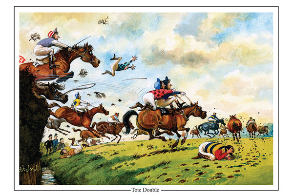 Tote Double Horse Racing Cartoon Greeting Card by Thelwell