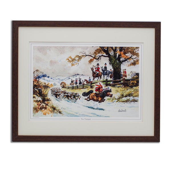 Cartoon pony and hunting print. The Toy Trumpet by Thelwell.