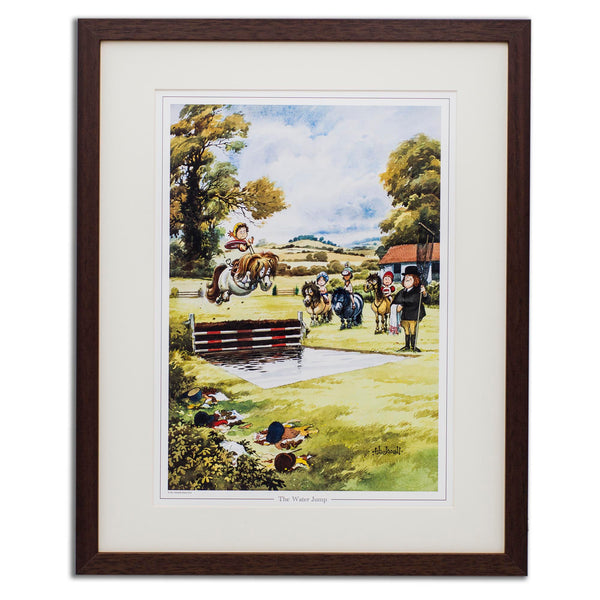 Pony cartoon print. The Water Jump by Thelwell