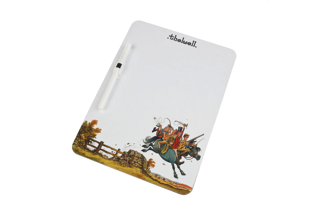 "Magnetic Memo Board with ""The Country Set"" Thelwell images."