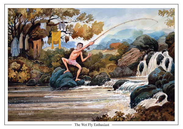 The Wet Fly enthusiast fishing cartoon Greeting Card by Thelwell