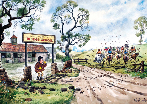 "Horse or Pony Greeting Card ""Willowbrook Riding School"" by Norman Thelwell"