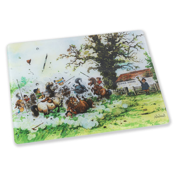 """Jousting"" Thelwell glass kitchen worktop surface protector featuring kids on ponies cartoon"
