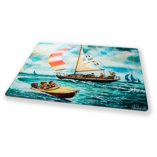 Thelwell sailing themed glass kitchen worktop surface protector. Four Letter Word