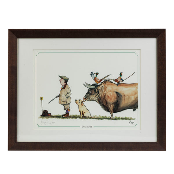 "Shooting cartoon limited edition print. ""Bullocks"" by countryside cartoonist Bryn Parry"