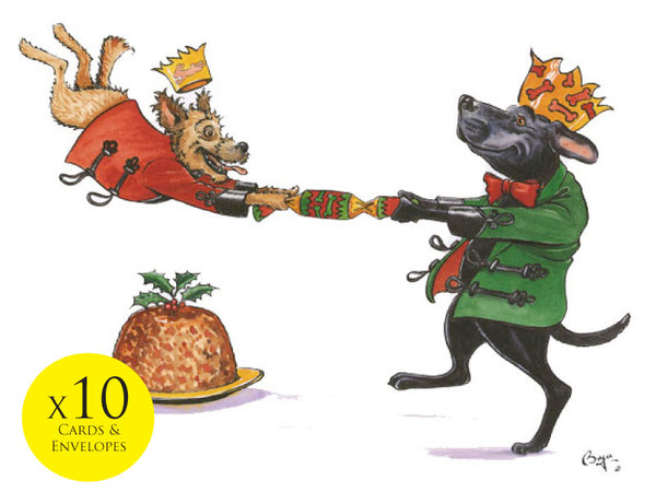 10 x Dog themed Christmas Cards by Bryn Parry. Canine Crackers
