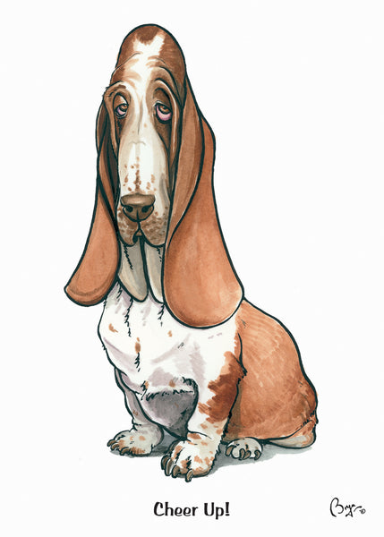 Bassett Hound cartoon greeting card by Bryn Parry. Cheer Up