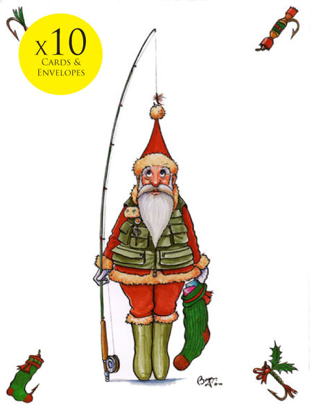 10 x Fishing themed Christmas Cards by Bryn Parry. The Christmas Catch