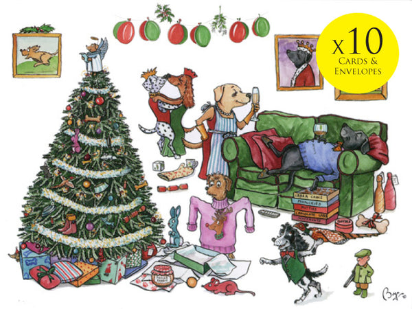 10 x Dog themed Christmas Cards by Bryn Parry