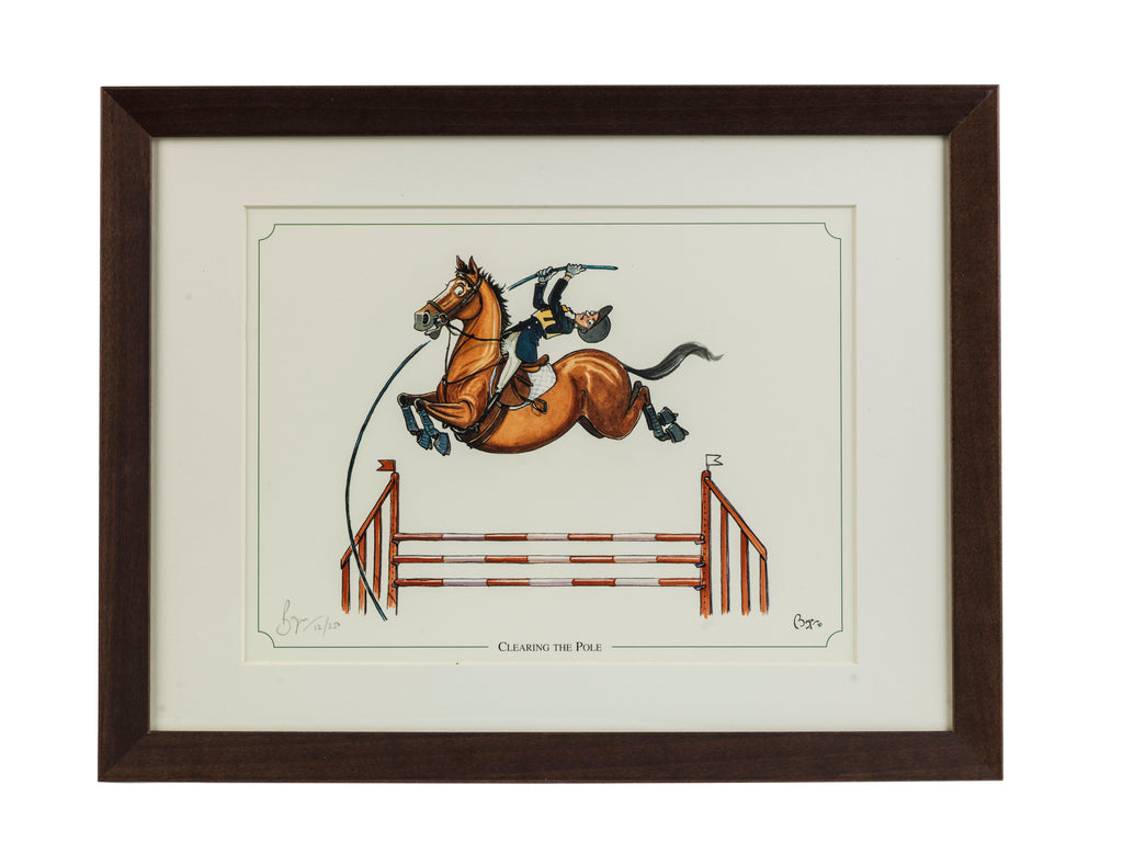 "Showjumping horse cartoon limited edition print. ""Clearing the Pole"" by countryside cartoonist Bryn Parry"