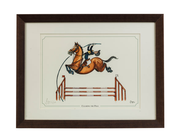 Showjumping horse cartoon limited edition framed print. Clearing the Pole by Bryn Parry