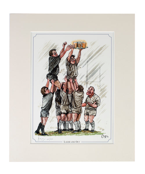 """Lager Lineout"" rugby limited edition print by Bryn Parry"