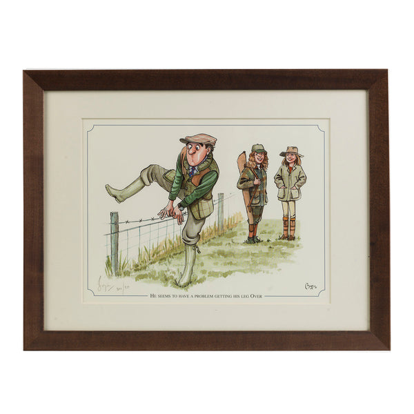 "Shooting cartoon limited edition print. ""He seems to have a problem getting his leg over"" by countryside cartoonist Bryn Parry"