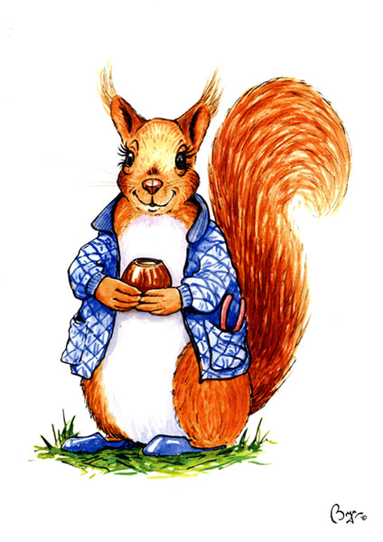 Red Squirrel cartoon greeting card by Bryn Parry