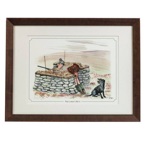 "Grouse shooting cartoon limited edition print. ""The Laird's Butt"" by countryside cartoonist Bryn Parry"