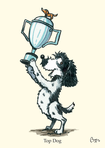 Cocker Spaniel cartoon greeting card by Bryn Parry. Top Dog