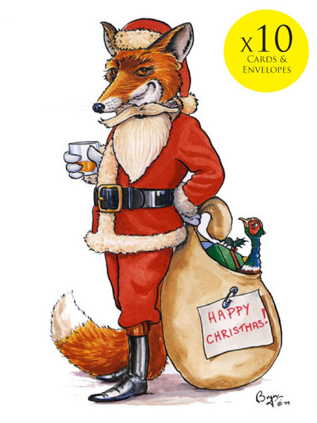 10 x Fox Christmas Cards with envelopes. Cartoon of fox dressed as Santa with pheasant in sack by iconic hunting and country sports artist Bryn Parry.
