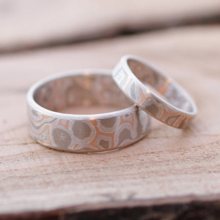 Custom Mokume Gane wedding rings