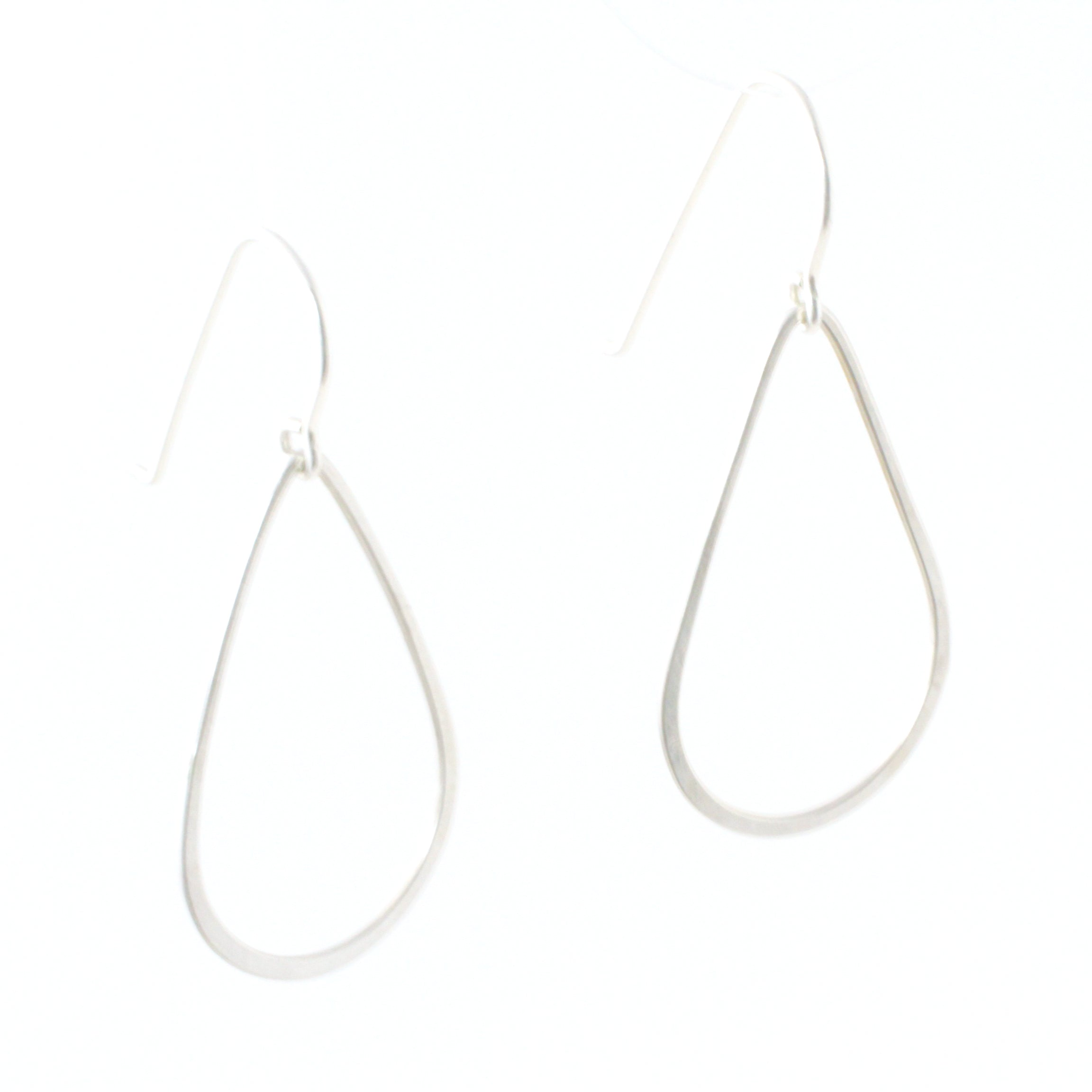 Large size sterling silver teardrop shaped earrings.