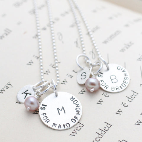 Custom stamped Maid of Honor necklace