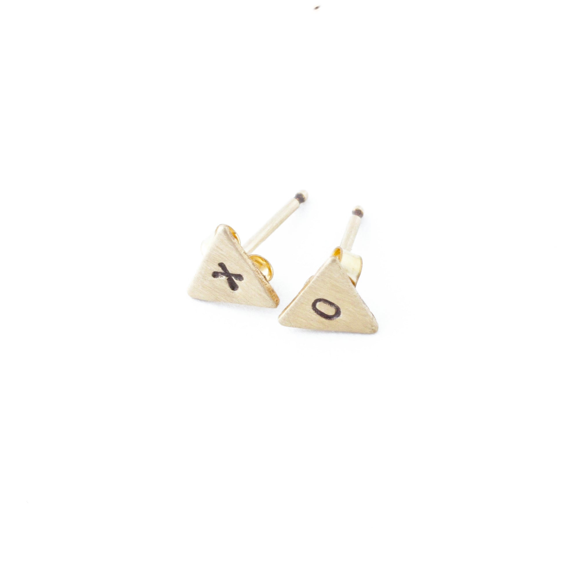 Tiny Triangle Stamped Stud Earrings (Gold-Filled)