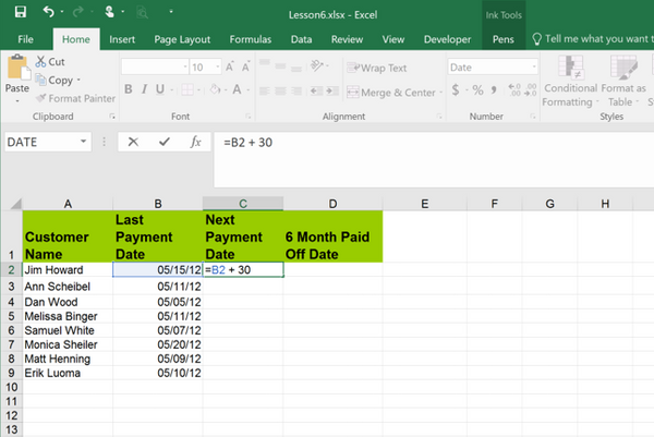 today date and day formula in excel