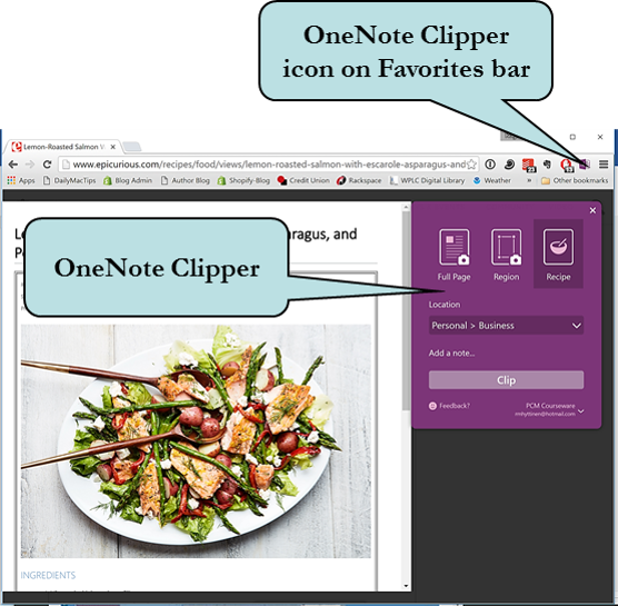 How to clip Web pages into OneNote