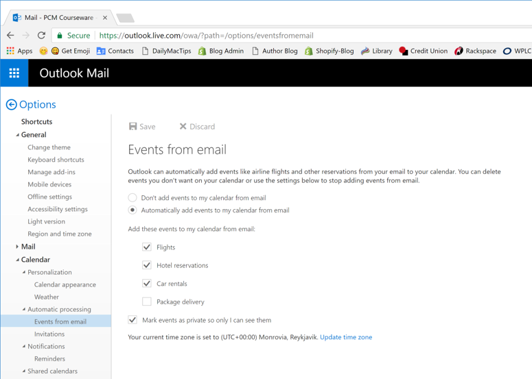 Automatically add travel and package delivery events to your Outlook calendar
