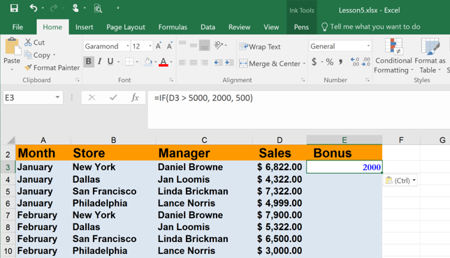 Using the IF function in Excel