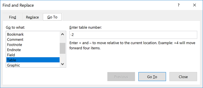Quickly Jump from Table to Table in Microsoft Word