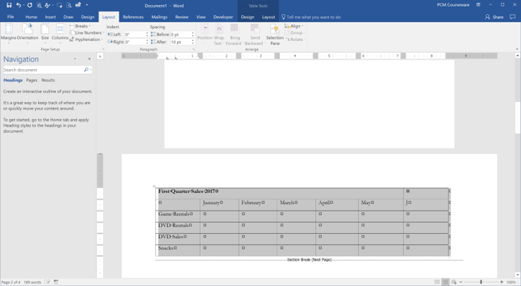 Print a Microsoft Word Table in Landscape