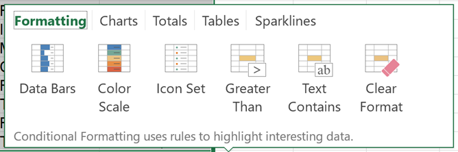 Analyzing Excel Data using Quick Analysis