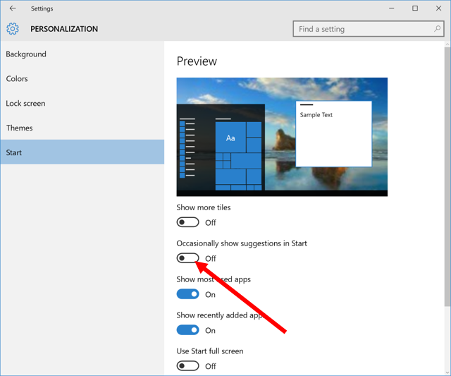 How to turn off the Suggested Apps on the Start Menu in Windows 10