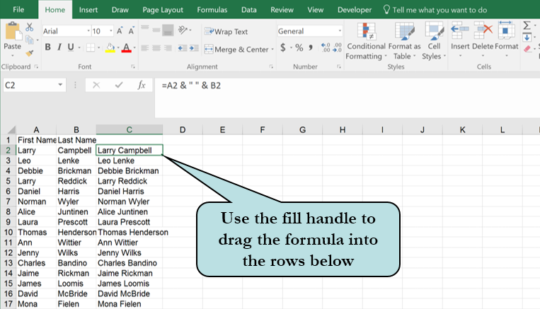 How to join the contents of multiple cells in Excel – PCM Courseware