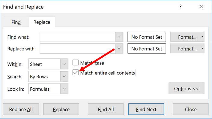 Arrow pointing to Match Entire Contents checkbox