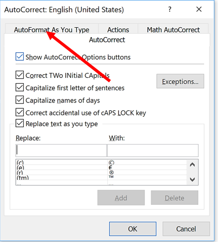 arrow pointing to AutoFormat as you type tab