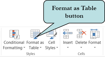 Format as Table icon screenshot